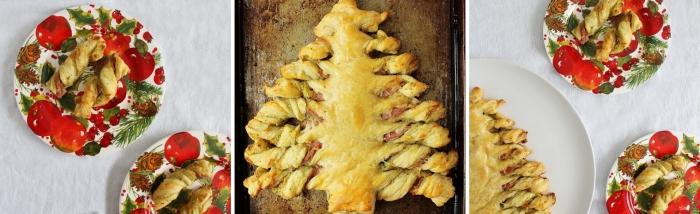 comment préparer un feuilleté salé au jambon facile, recette de noel avec pâte coupée en forme arbre de noel