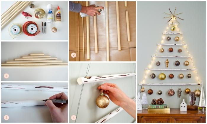 les étapes de bricolage d'un sapin de noel en bois original fait à partir de bâtons de bois et de corde, et suspendu au mur avec une multitude de boules de noël