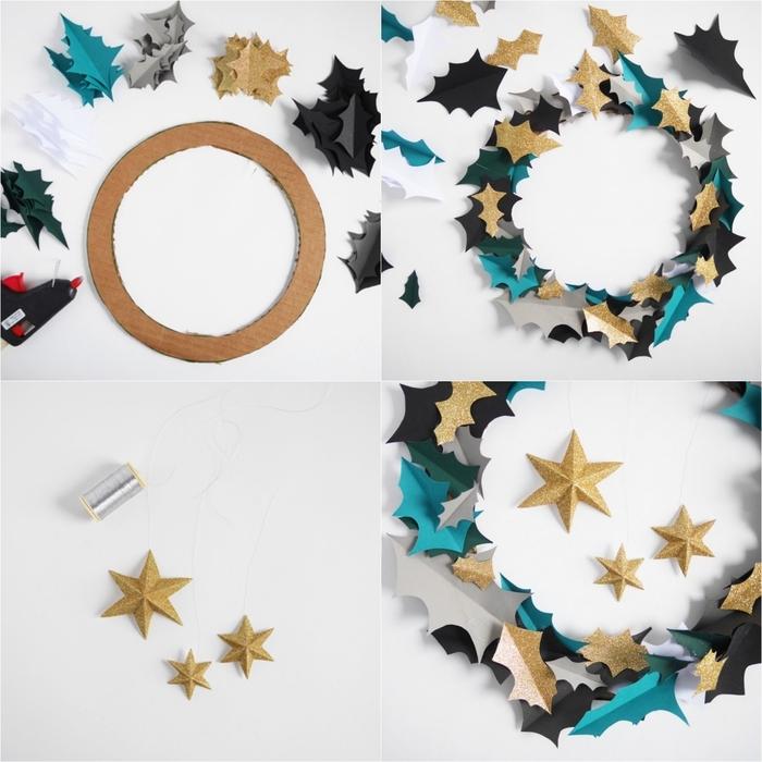couronne de noël faite-maison en feuilles de papier bleu, noir et or pailleté collées sur un cadre en carton, fabriquer deco noel facile en papier