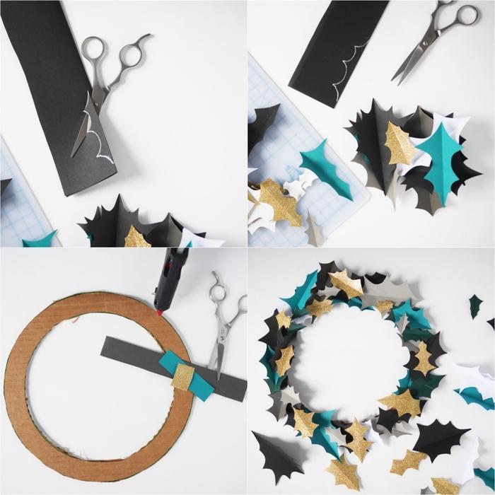 activités manuelles noel faciles à base de papier, réaliser une couronne de noël en cadre de carton et en feuilles de papier
