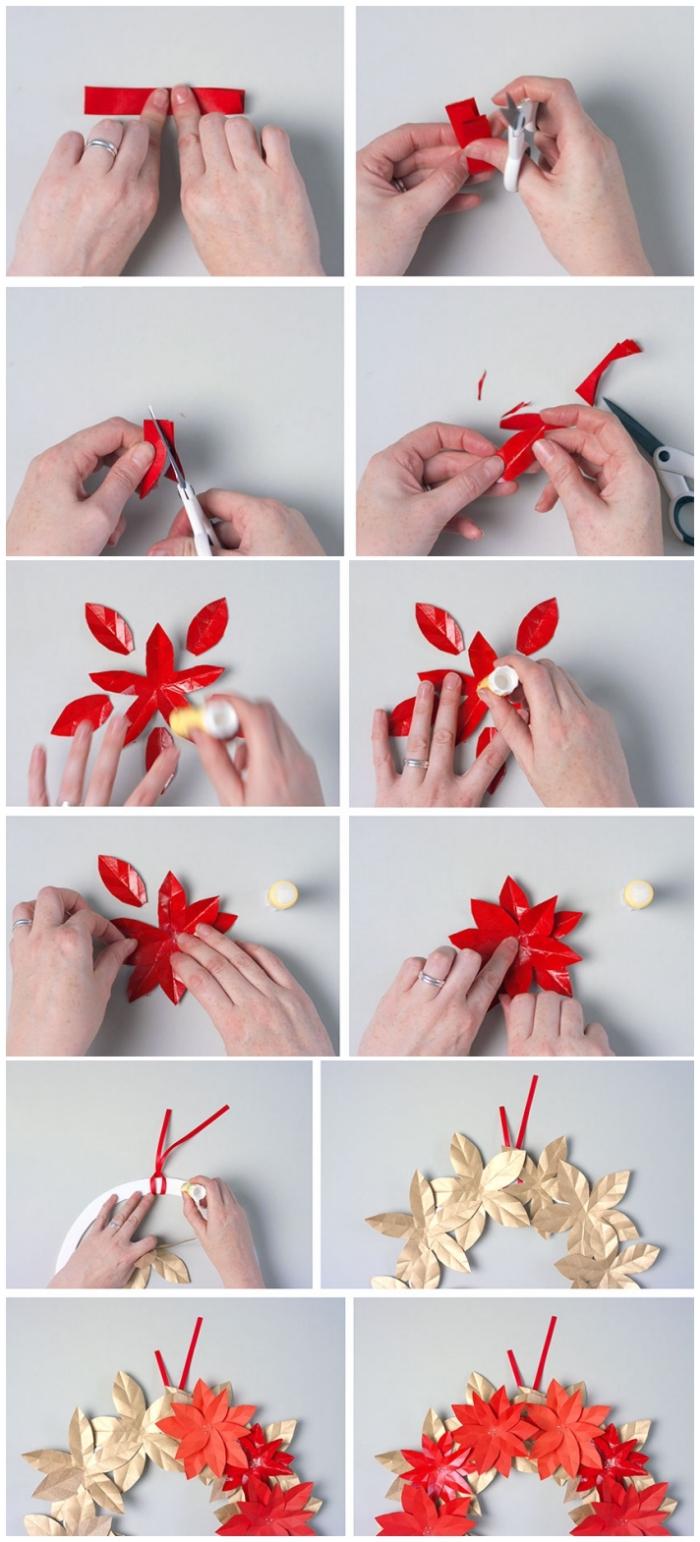 les étapes de pliage et de découpage pour réaliser une jolie fleur de poinsettia pour décorer le sapin ou une couronne de noël, activités manuelles noel avec du papier