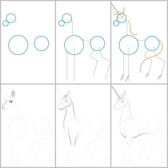 comment dessiner une licorne en partant de trois cercles de base, suivre un pas à pas détaillé pour reproduire le dessin