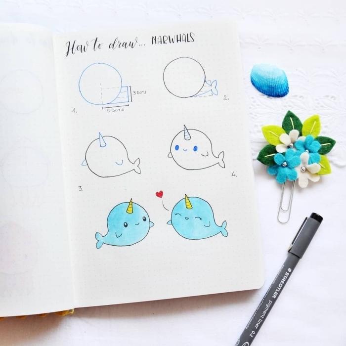 dessiner une licorne des mers façon un personnage kawaii mignon, apprendre à dessiner un narval kawaii en quelques étapes faciles
