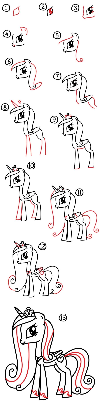 apprendre à dessiner une licorne kawaii princesse celestia, personnage de my little pony, dessin destructuré en ses formes simples