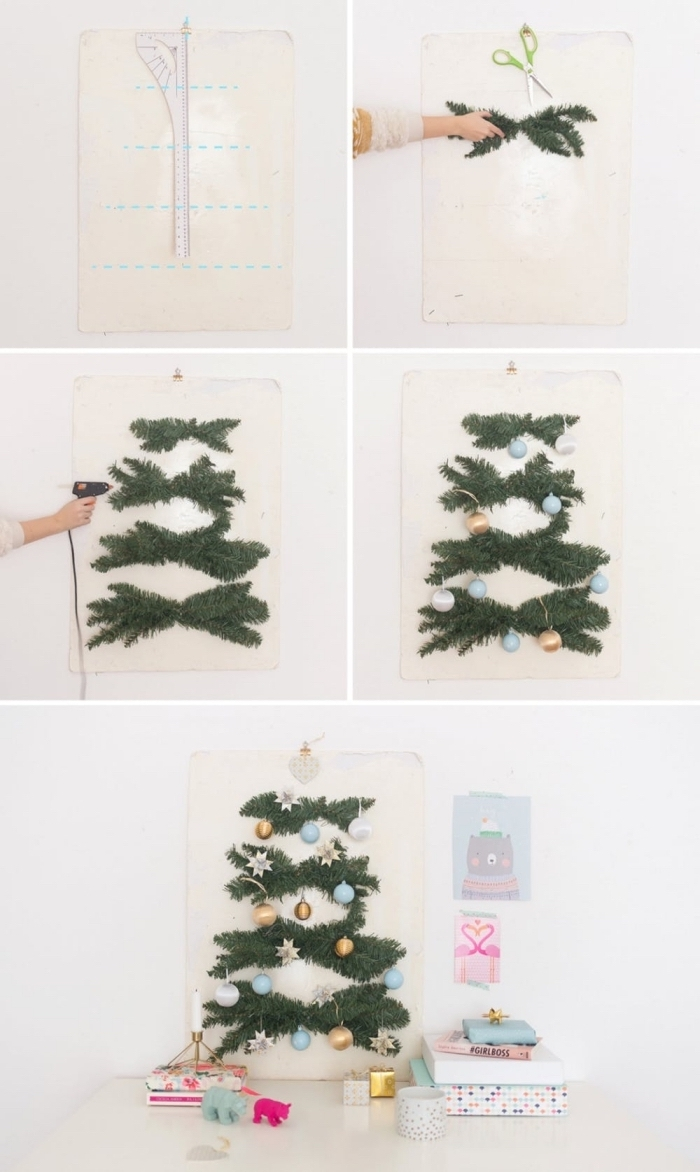comment réaliser un sapin original à partir des branches artificielles fixées au mur sur un support en bois ou en carton façon une véritable affiche déco vintage