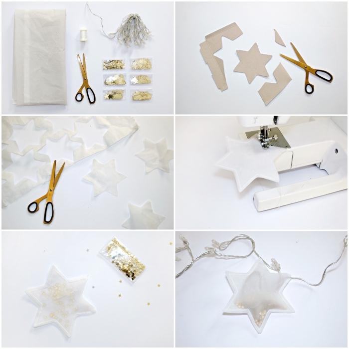 fabriquer une guirlande lumineuse d'étoiles à sequins dorés pour une déco de fenêtre douce et féerique, idée originale pour fabriquer deco noel lumineuse