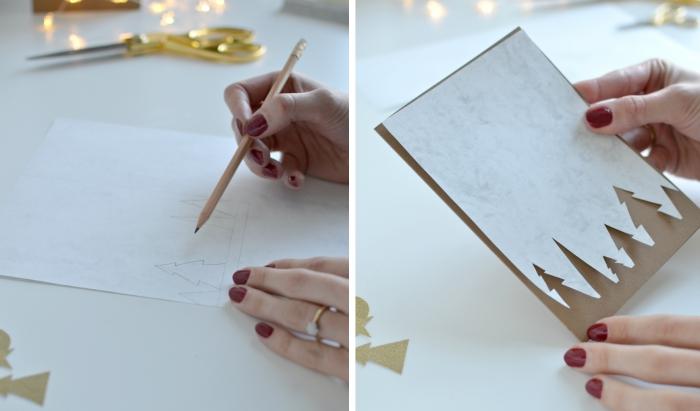 modele de carte de voeux facile à faire avec papier kraft brun et figurines de sapin découpés de papier marbre