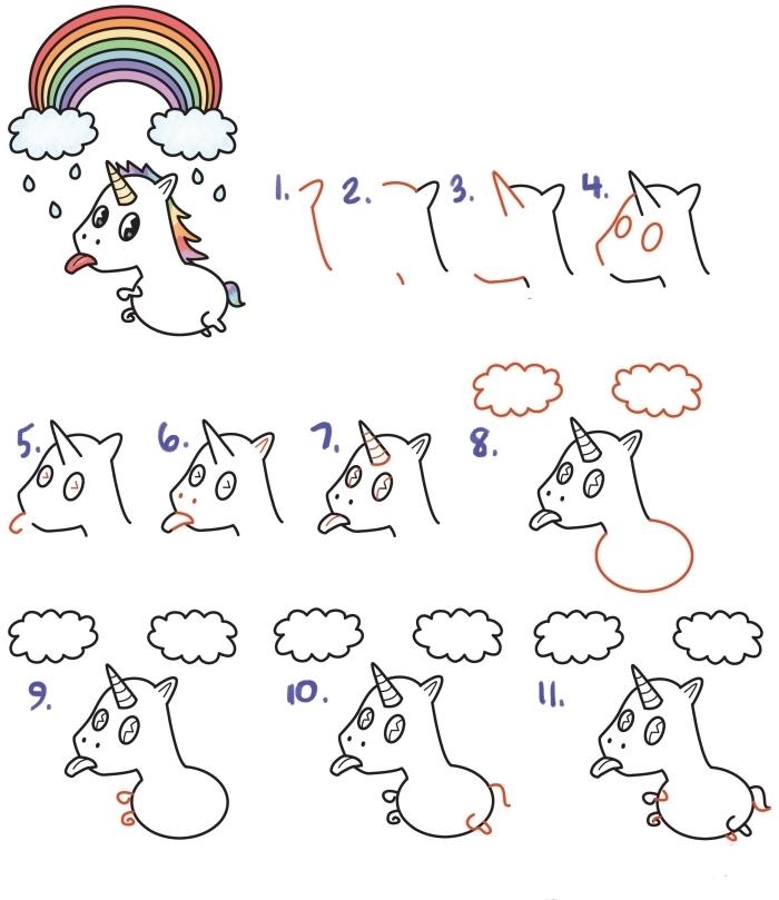 comment dessiner une licorne kawaii qui tire la langue volant en dessous d'un arc-en-ciel, cours de dessin maternelle