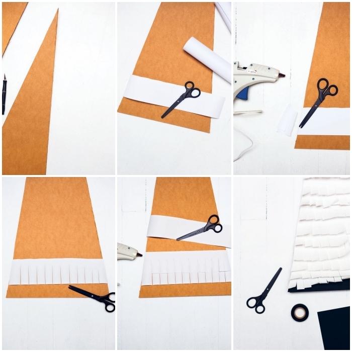 tuto pas à pas pour réaliser un petit sapin de noel en carton recouvert de bandes de papier blanc frangé
