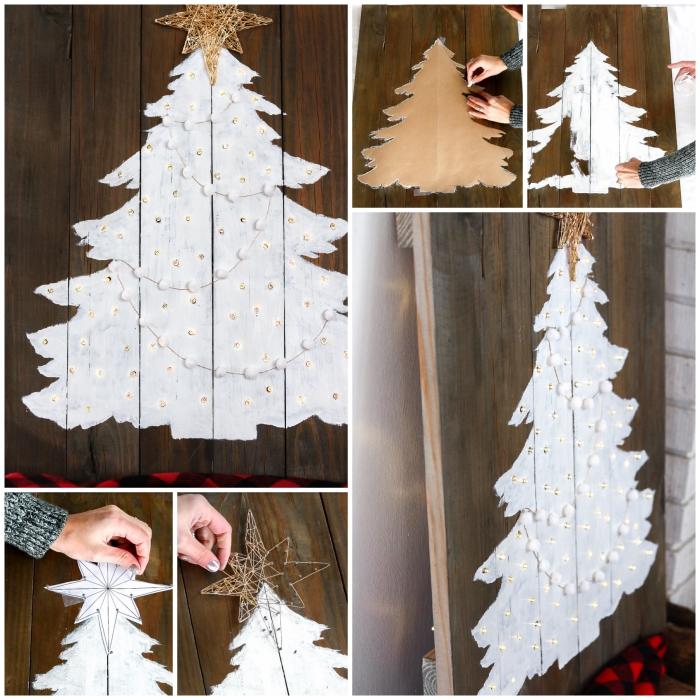 sapin de noel en bois a faire soi meme à partir d'une palette recyclée peinte en blanc et décoré avec une guirlande lumineuse