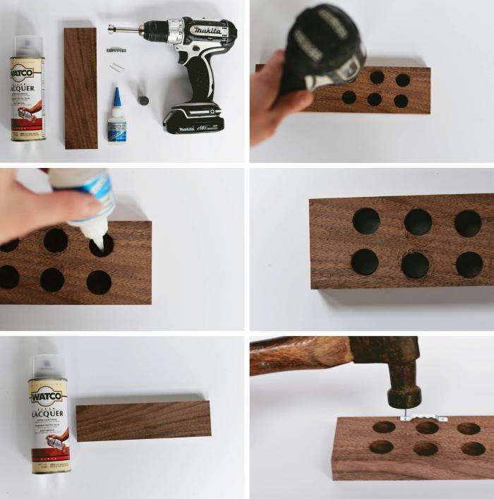 un support de couteaux magnétique réalisé à partir d'un bloc de bois percé de trous et fixé au mur