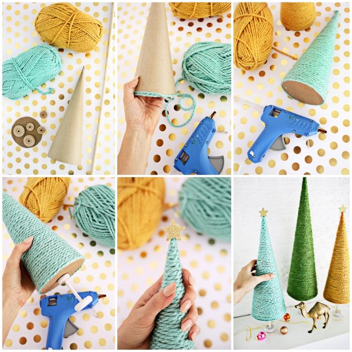tuto facile pour réaliser un sapin de noel en carton en forme de cône, recouvert de fils de laine colorée, monté sur roulettes