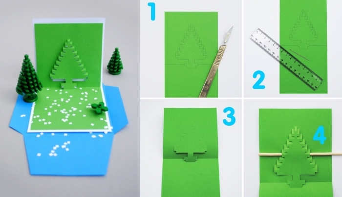 comment réaliser une carte de noel à effet sapin pop up, étapes à suivre pour faire une jolie carte de noel en papier coloré