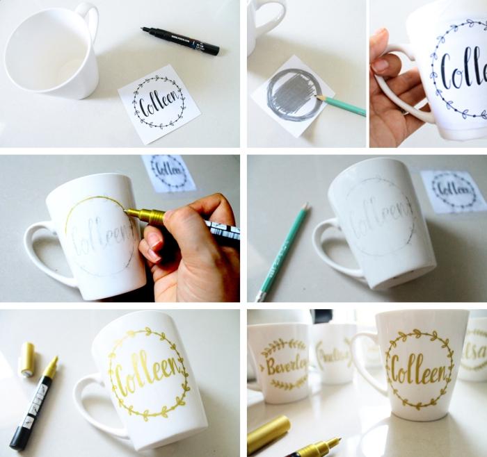 étapes à suivre pour décorer une tasse de café, feutre dorée permanente pour dessins sur céramique ou porcelaine, cadeau de noel pour femme
