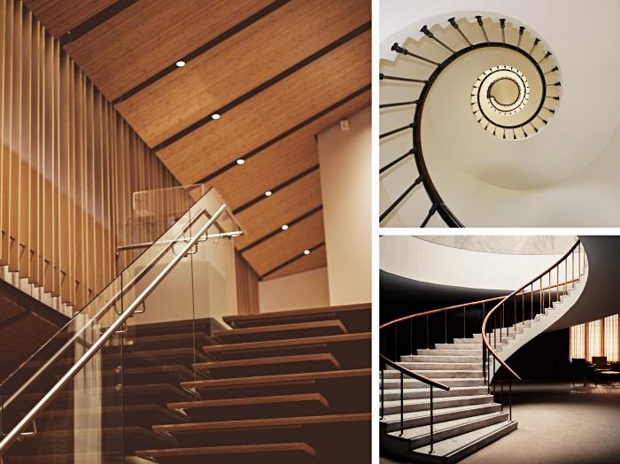 idée escalier colimaçon pas cher, modèle d'escalier sans contremarche à design moderne, choix escalier selon le type d'espace