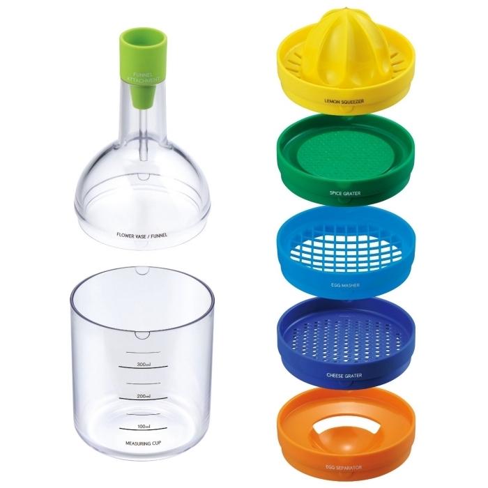 accessoire de cuisine multifonctions, modèle de bouteuilles 8 en 1, bouteille de cuisine avec outils et accessoires