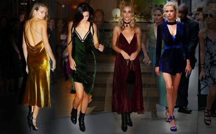robes de noel lumineuses, robe en couleur en velours, dos dénudé, bottes et sandales, idées tenue habillée femme