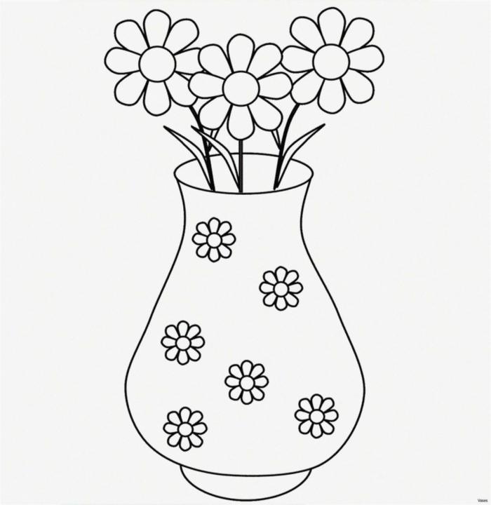 Adorable idée de de dessins de vase avec fleurs, facile à faire dessin de vase, dessin facile a reproduire, image simple lignes