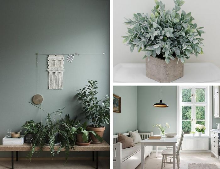couleur de peinture pour salon salle a manger, décoration couloir de style bohème chic avec meubles en bois et fleurs