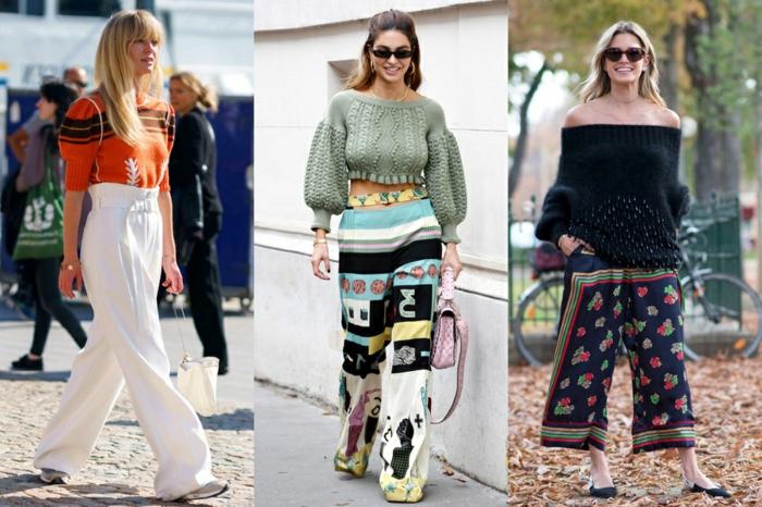 pantalons fluides, blouse orange manches volumineuses, pantalon blanc taille haute, pull au tricot fin, lunettes de soleil, tenues street style