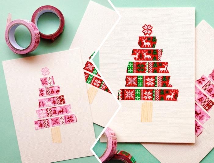 carte diy pour noel facile, exemple comment customiser carte vierge sur thème noel, modèle de carte Noel avec sapin en ruban adhésif