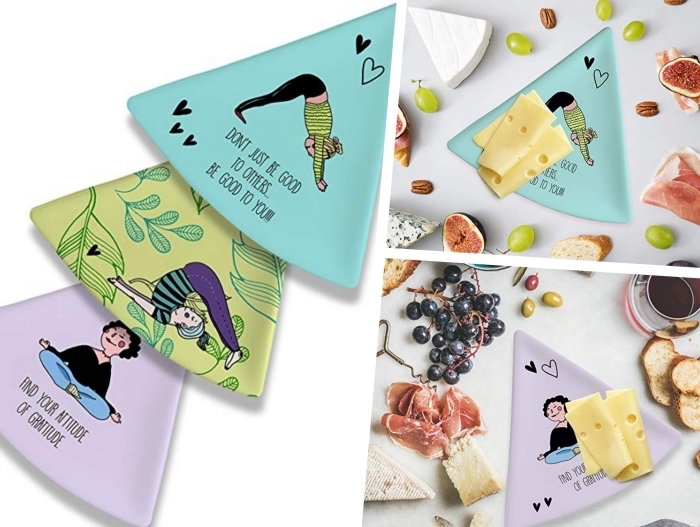 quel cadeau pour les fans de yoga, set d'assiettes personnalisées avec illustrations yoga, cadeau anniversaire maman sportive