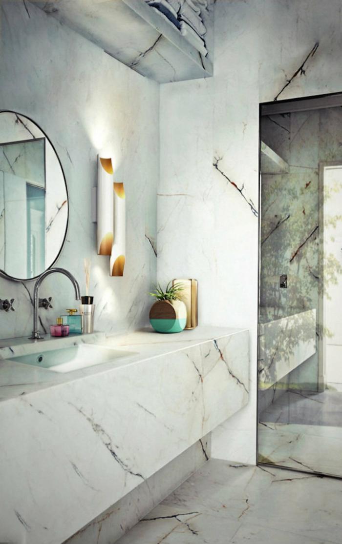 Une salle de bain retro, style industriel plan de la salle de bains, design original moderne vintage marbre