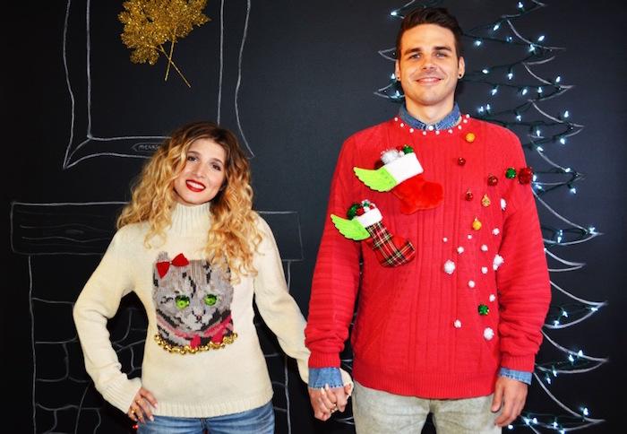 couple avec pulls moches de noel diy créés à la main avec tutoriel pour décorer une tenue de noel kitsch