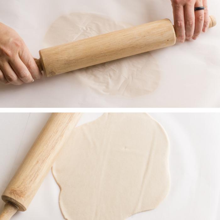 tuto pate à sel étape aplat avec rouleau tapisserie avec découpe des formes avec emporte pièces