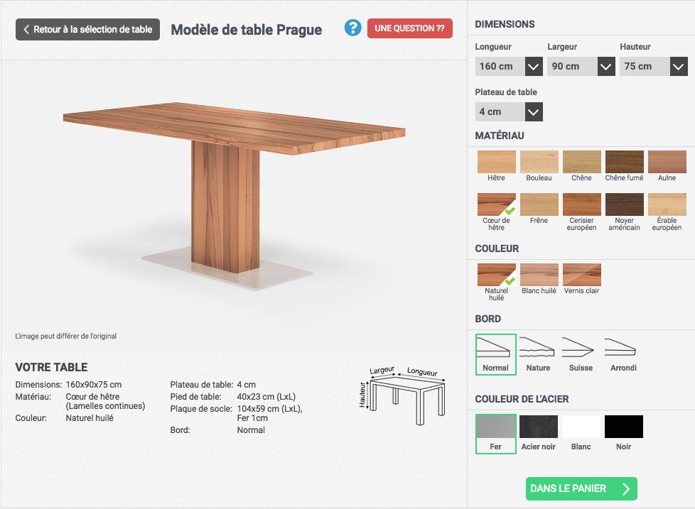 exemple du processus de personnalisation d'une table à manger sur mesure avec choix des dimensions et autres spécificités