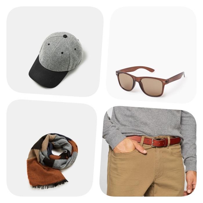 quels accessoires pour adopter le style casual chic, lunettes de soleil, casquette, ceinture marron et écharpe gris, marron et noir
