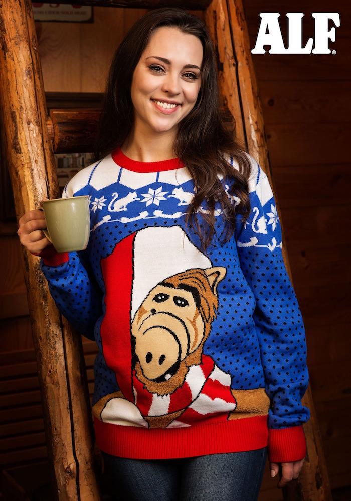 Pull moche de noël femme motif alf l'extra terrestre style kitsch pour reveillon et vacances hiver