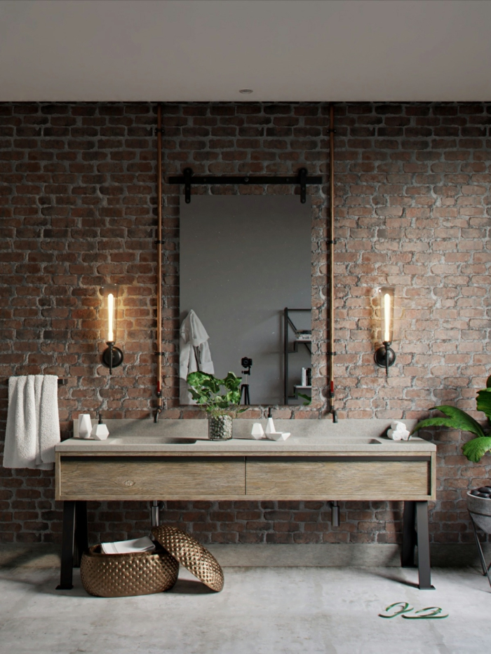 Grand miroir, meuble salle de bain a pieds industriel style, utilisation bois et métal pour les meubles salle de bain industrielle