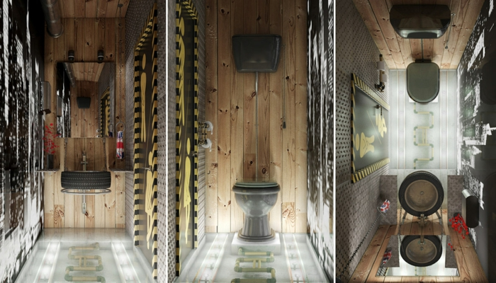 Quelle est la meilleure idée de decoration industriel, salle de bain industrielle, cool idée pour la déco stylée, trois photos de différent angles