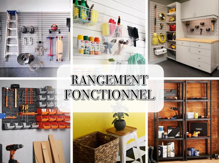modèles etageres garage murales, exemple étagère modulable à 5 tablettes en fer, comment stocker ses outils dans boîtes accrochés sur les murs