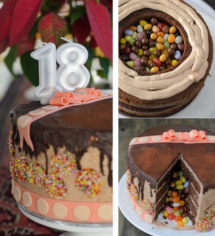 pinata cake au chocolat pour fêter ses 18 ans rempli de bonbons gélifiés, au glaçage coulant en chocolat décoré avec un ruban en pâte à sucre