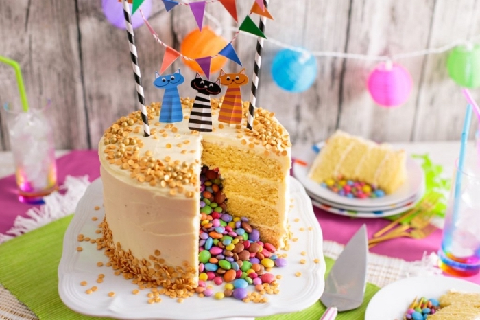gateau smarties de plusieurs couches de génoises à la vanille et au glaçage au beurre décoré pour un anniversaire d'enfant avec une banderole et des cake toppers chats