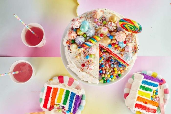 recette de gateau arc en ciel composé de plusieurs génoises de couleurs différentes, garni de bonbons multicolores