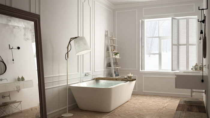 Une salle de bain retro mais moderne, style industriel dans les détails, plan de la salle de bains, design original moderne vintage