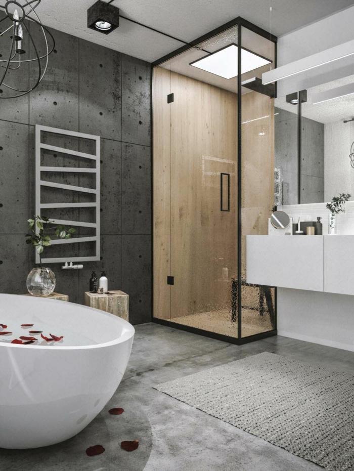 Verriere salle de bain, style industriel, cool idée de decoration interieur design industriel chouette idée, petailles de rose dans le baignoire