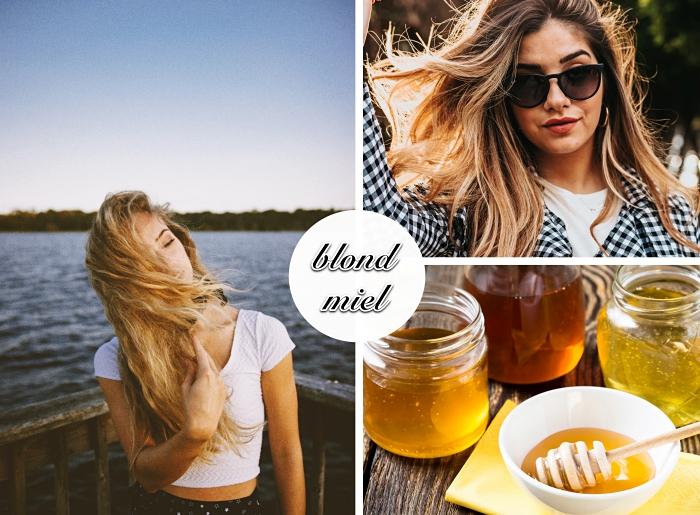 quelle couleur blonde pour cheveux châtain clair ou foncé, exemple de balayage blond sur cheveux brunes aux reflets dorés