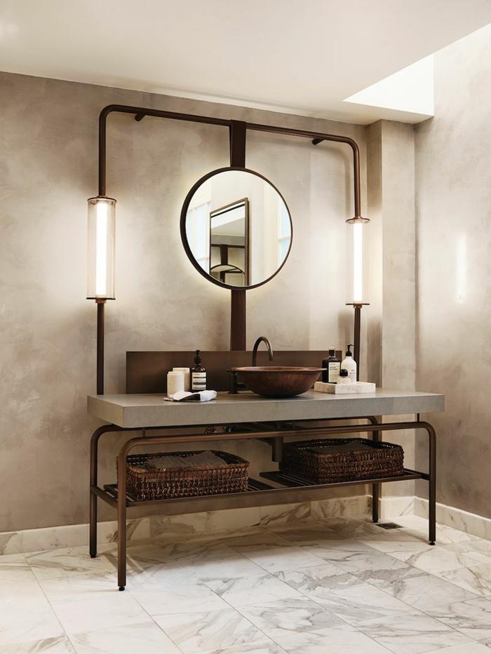 Salle de bain noir et bois, verriere salle de bain, décoration salle de bains industrielle chouette photo pour s'inspirer meuble industriel lavabo