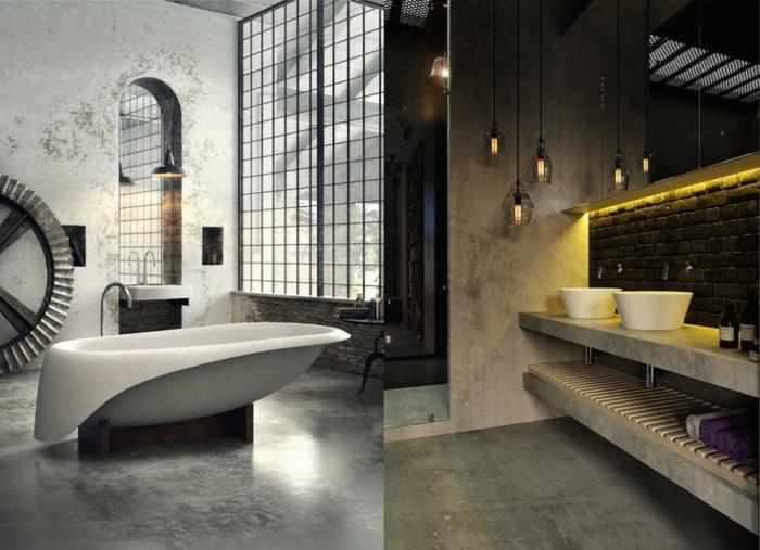 Unique salle de bain noir et bois, style industrie pourl ma maison avec belle salle de bain originale, ultra-moderne baignoire, lustre industriel