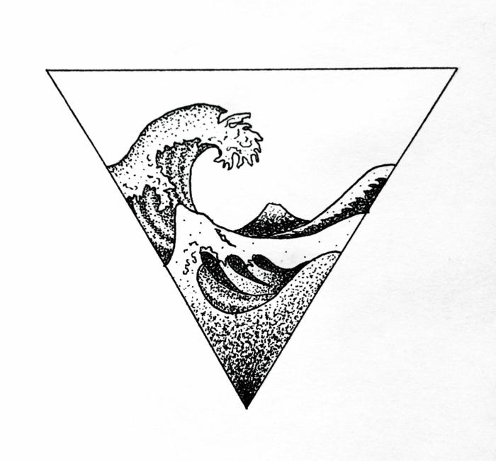 Chouette idée tatouage homme, style de tatouage original, dessin tatouage main, grande vague noir et blanc dessin