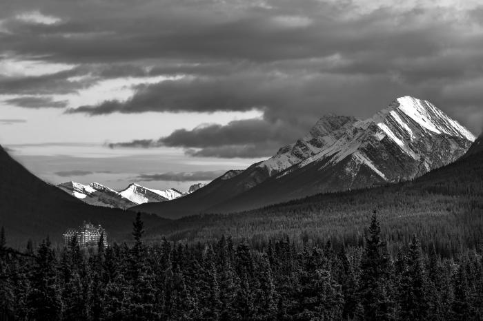 joli paysage noir et blanc naturel avec une montagne enneigée en plan derrière et un grand bâtiment en plein forêt