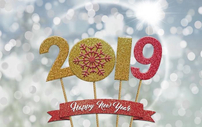 idée carte de voeux pour 2019, modèle de carte numérique avec chiffres nouvel an, image fond d'écran 2019