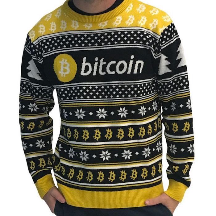 pull moche bitcoin pour tenue de noel kitsch fete du reveillon homme jaune et noir