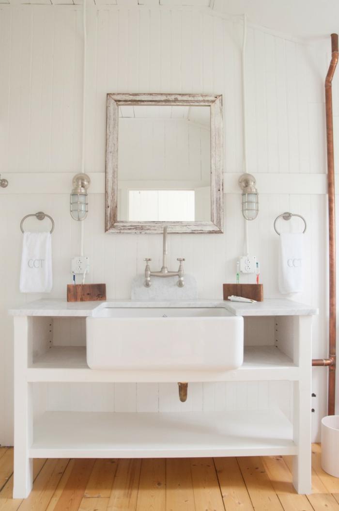 Beau style industriel décoration salle de bain, simple et beau design industriel, inspiration chic moderne, meuble blanche robinet industriel