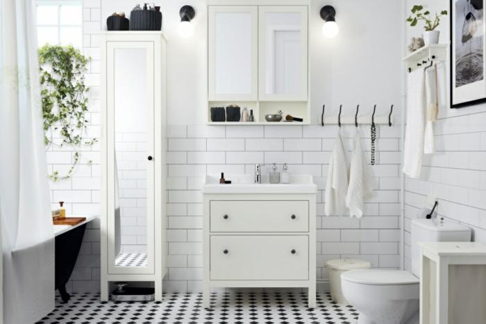 Pinterest salle de bain, idée déco salle de bain industrielle, originale stylée salle meuble insustriel chic meuble blanche