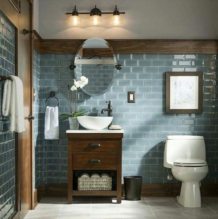 La plus belle salle de bain retro, decoration industriel vintage, style beau et moderne actuellement bleu carrelage